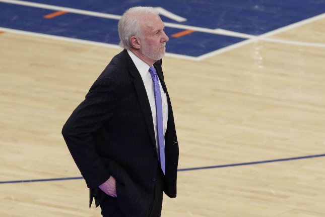 San Antonio Spurs head coach Gregg Popovich stands near the bench in the second half against the New York Knicks on January 2, 2018 at Madison Square Garden in New York City. Photo by John Angelillo/UPI