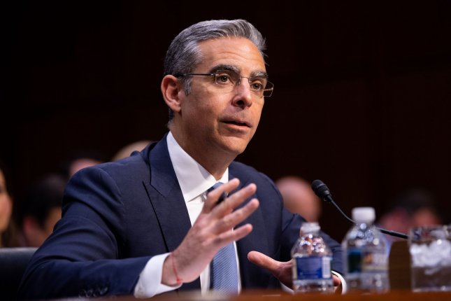 David Marcus, head of the Facebook subsidiary in charge of Libra, testifies on Libra and Facebook's cryptocurrency plan during a Senate Finance Committee Hearing on Capitol Hill in Washington, D.C. on Thursday. Photo by Kevin Dietsch/UPI