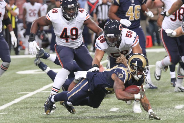 Former Chicago Bears linebacker Sam Acho (49) missed 12 games last season due to a torn pectoral. File Photo by Bill Greenblatt/UPI