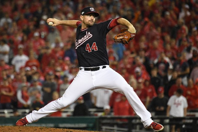 Washington Nationals relief pitcher Daniel Hudson delivers to the Los Angeles Dodgers during the ninth inning of Game 4 of the NLDS on Monday at Nationals Park in Washington, D.C. Photo by Pat Benic/UPI