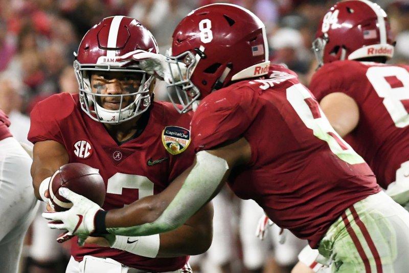 Alabama Crimson Tide quarterback Tua Tagovailoa (L) suffered a dislocated hip during Saturday's win over Mississippi State. File Photo by Gary I Rothstein/UPI