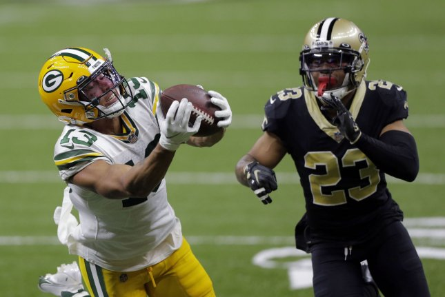 New Orleans Saints cornerback Marshon Lattimore (23) was charged with receiving a stolen firearm, a fourth-degree felony in Ohio. File Photo by AJ Sisco/UPI