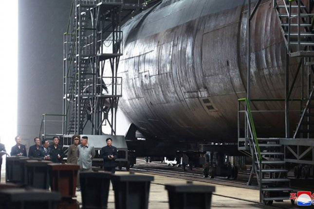 South Korea said it is paying attention to developments at Sinpo Shipyard, where in July 2019 Kim Jong Un examined a ROMEO-class submarine. File Photo by KCNA/UPI