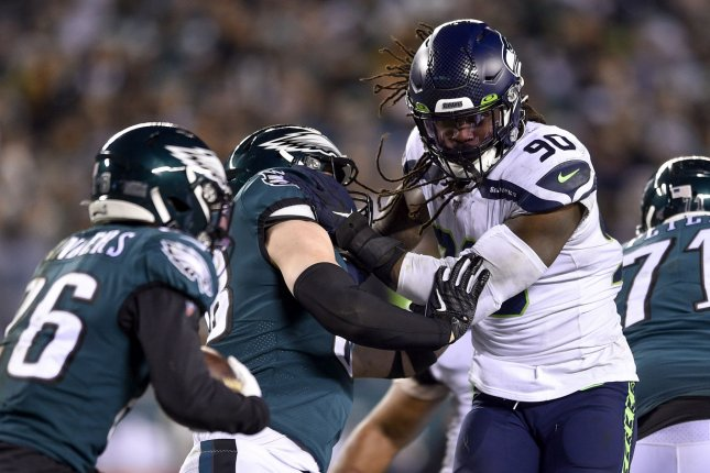 Former Seattle Seahawks pass-rusher Jadeveon Clowney (90), shown Jan. 5, 2020, spent last season with the Tennessee Titans. He played in just eight games before suffering a season-ending knee injury. File Photo by Derik Hamilton/UPI