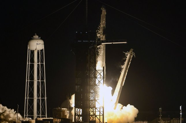 A SpaceX Falcon 9 rocket launches a Crew Dragon spacecraft on the Inspiration4 mission at 8:02 p.m. Wednesday from Complex 39A at Kennedy Space Center in Florida. Photo by Joe Marino/UPI