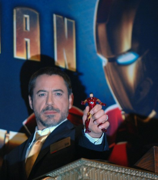 Actor Robert Downey Jr. takes part in the ceremonial ringing of the opening traders bell at the New York Stock Exchange to promote Marvel Entertainment and Paramount pictures' new film Iron Man which stars Downey Jr. on April 29, 2008. (UPI Photo/Ezio Petersen)