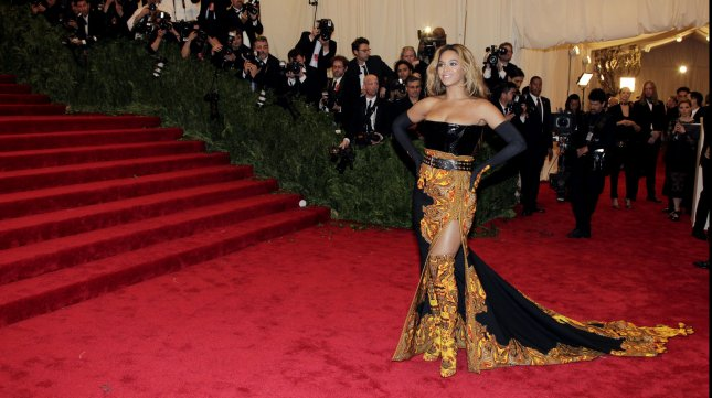 Beyonce arrives on the red carpet at the Costume Institute Benefit at the Metropolitan Museum of Art in New York City on May 6, 2013. UPI/John Angelillo