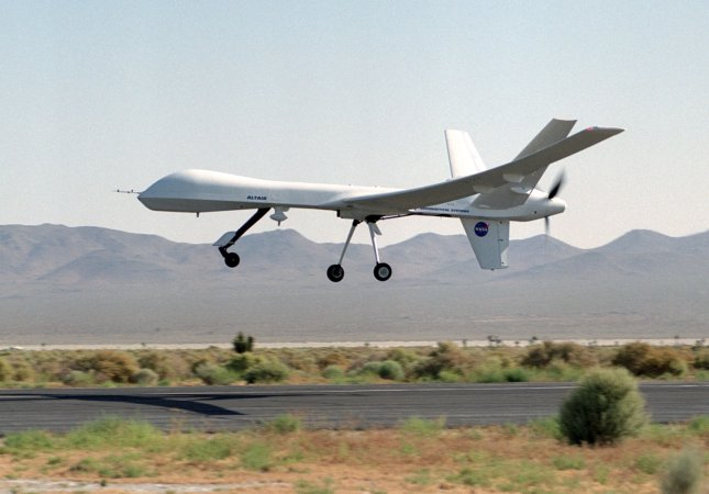 The remotely-piloted Altair unmanned aerial vehicle (UAV) took to the air on its first checkout flight on June 9, 2003 at El Mirage, California. (UPI Photo/NASA)