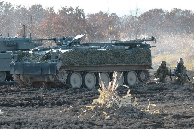 The 2-2 Stryker brigade combat team of U.S. Army, pictured during a joint exercise with Japan's Ground Self Defense Force at Hokkaido large training Area on Oct. 30, 2014. UPI/Keizo Mori