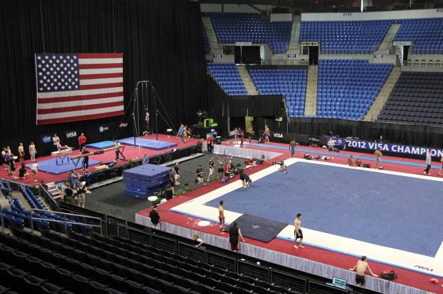 Gymnasts warm up before the start of the 2012 USA Gymnastics' national championships at the Chaifetz Arena in St. Louis on June 6, 2012. Dr. Larry Nassar, who served as doctor for Team USA from 1996-2015, has been charged on allegations he sexually abused at least three minors, including at least two gymnasts. File Photo by Bill Greenblatt/UPI