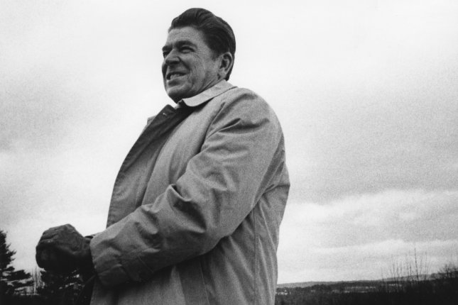 Former California Gov. Ronald Reagan is on his third campaign tour through New Hampshire discovers on January 28, 1976. On January 2, 1967, Reagan was sworn in as 33rd governor of California. File Photo by Leighton Mark/UPI