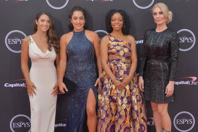 Athletes who accused Larry Nassar of sexual abuse, from left to right, Aly Raisman, Jordyn Wieber, Tiffany Thomas Lopez and Sarah Klein attend the 26th annual ESPY Awards on Wednesday in Los Angeles. Photo by Jim Ruymen/UPI