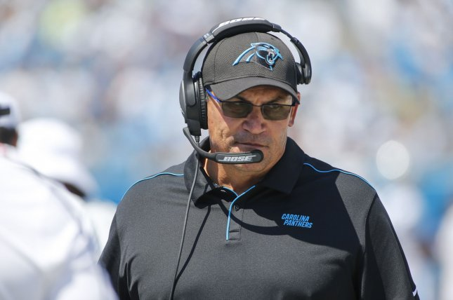 Carolina Panthers head coach Ron Rivera ended his nine-year tenure in Carolina as the winningest coach in team history. File Photo by Nell Redmond/UPI