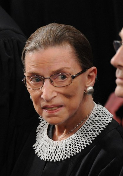 Supreme Court Justice Ruth Bader Ginsburg arrives for the address by President Barack Obama in front of a joint session of congress on Capitol Hill in Washington on February 24, 2009. This is the first public appearance for Ginsburg as she is recovering from cancer surgery. UPI/Pat Benic