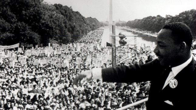 The Rev. Martin Luther King Jr. delivers his famed I Have Dream speech from the steps of the Lincoln Memorial, August 28, 1963. The speech galvanized the nation's civil rights movements and led to the passage of the 1964 Civil Rights Act, the 1965 Voting Rights Act and the 1968 Fair Housing Act. File/UPI