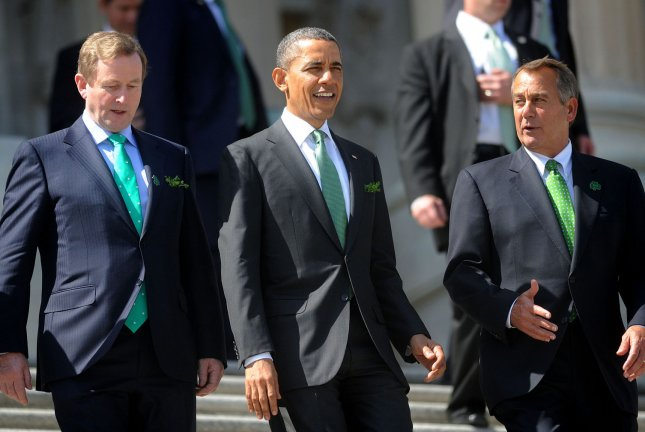 Speaker John Boehner (R-OH), President Barack Obama and Irish Prime Minister (Taoiseach) Enda Kenny depart the U.S. Capitol on the House steps after the Friends of Ireland Luncheon in the Rayburn Room on March 19, 2013 in Washington, DC. UPI/Olivier Douliery/Pool