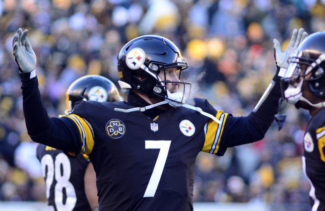 Pittsburgh Steelers quarterback Ben Roethlisberger reacts to a call during the AFC playoffs against the Jacksonville Jaguars in January. Photo by Archie Carpenter/UPI..