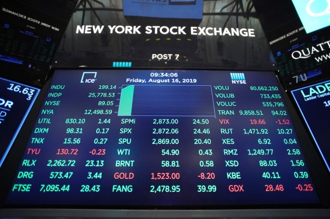 A board is seen August 16 on the the floor of the New York Stock Exchange on Wall Street in New York City. Photo by John Angelillo/UPI