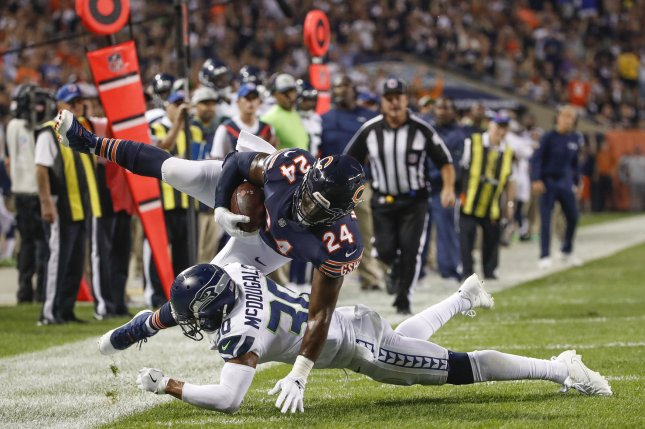 Former Chicago Bears running back Jordan Howard (24) was traded to the Philadelphia Eagles last off-season and emerged as the team's starting tailback over rookie Miles Sanders. File Photo by Kamil Krzaczynski/UPI