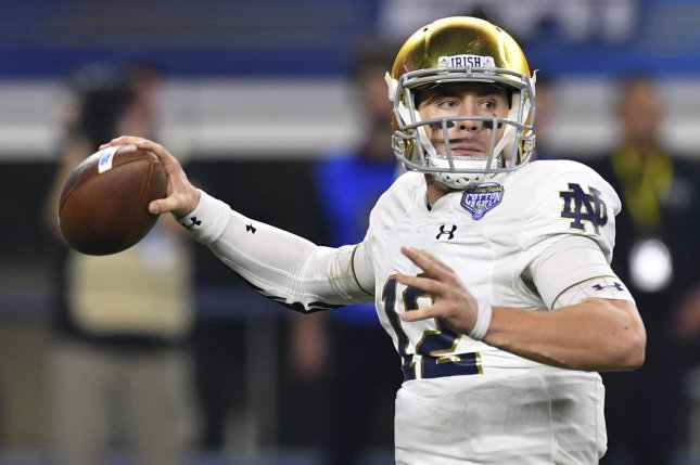 Quarterback Ian Book and the Notre Dame Fighting Irish are the No. 2 team in the first 2020-2021 College Football Playoff rankings. File Photo by Shane Roper/UPI