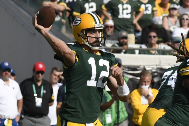 Green Bay Packers quarterback Aaron Rodgers passes against the New Orleans Saints on Sunday at TIAA Bank Field in Jacksonville, Fla. Photo by Joe Marino/UPI