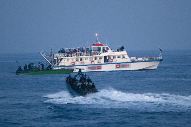 Israeli Navy soldiers intercept a peace boat headed for Gaza on May 31, 2010, in the Mediterranean sea. UPI/Uriel Sinai/Pool.