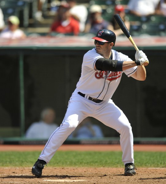 Cleveland Indians designated hitter Travis Hafner, shown in a 2010 file photo, was placed on the disabled list Wednesday because of a knee injury. He's expected to miss 4-6 weeks because of the injury. UPI/David Richard