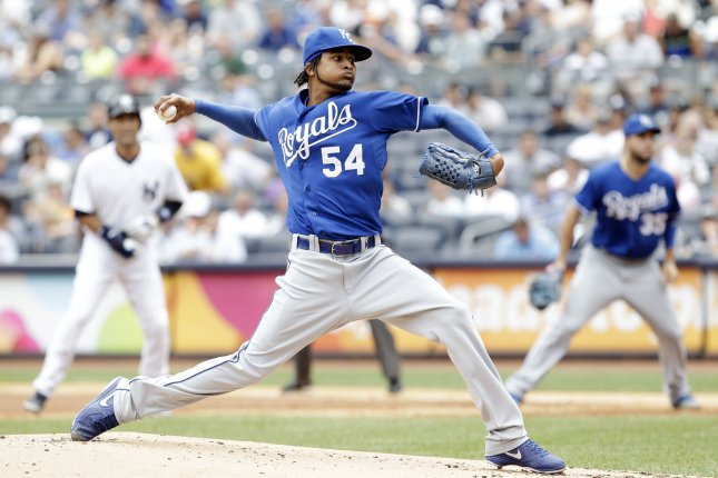 Kansas City Royals starting pitcher Ervin Santana throws a pitch in the first inning against the New York Yankees at Yankee Stadium in New York City on July 11, 2013. For the first time since Game 1 of the ALCS, Derek Jeter is in the Yankees lineup. UPI/John Angelillo