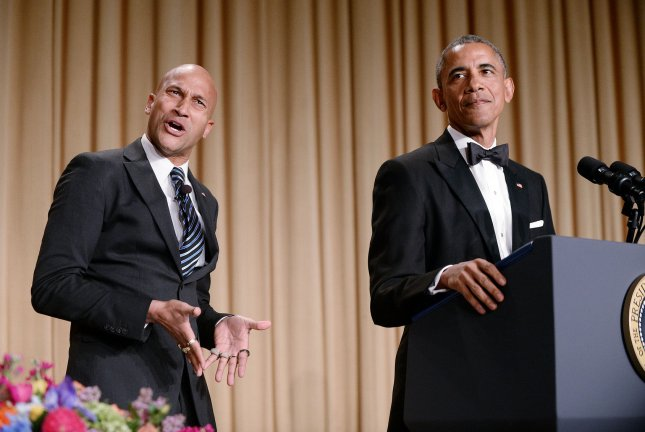 President Barack Obama speaks as Luther his translator played by Keegan-Michael Key gestures during the annual White House Correspondent's Association Gala at the Washington Hilton Hotel on April 25, 2015 in Washington, D.C. The dinner is an annual event attended by journalists, politicians and celebrities. Pool Photo by Olivier Douliery/UPI