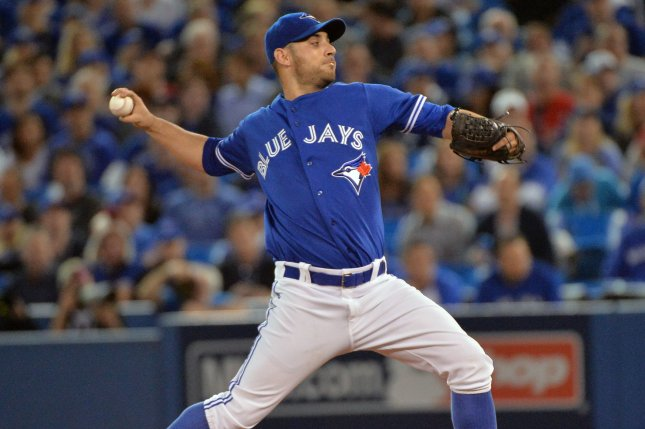 Toronto Blue Jays starting pitcher Marco Estrada. Photo by Kevin Dietsch/UPI
