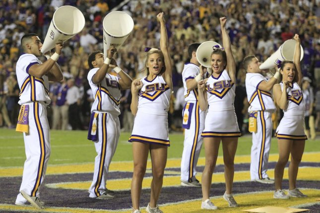 LSU Tigers cheerleaders get the crowd going at Tiger Stadium in Baton Rouge, La. November 5, 2016.The No. 21 Gators travel to Tiger Stadium and play a No. 16 Tigers on Saturday, November 19. Photo by AJ Sisco/UPI