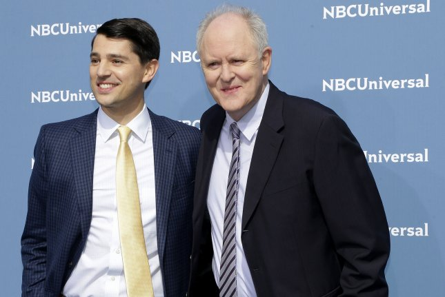 Trial & Error co-stars Nicholas D'Agosto and John Lithgow arrive on the carpet the 2016 NBCUNIVERSAL Upfront event on Tuesday in New York City. NBC said it renewed Trial & Error for a second season. File Photo by John Angelillo/UPI