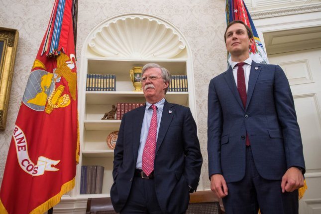 The investigation seeks information related to the security clearances of national security adviser John Bolton (L) and White House adviser Jared Kushner. Photo by Kevin Dietsch/UPI