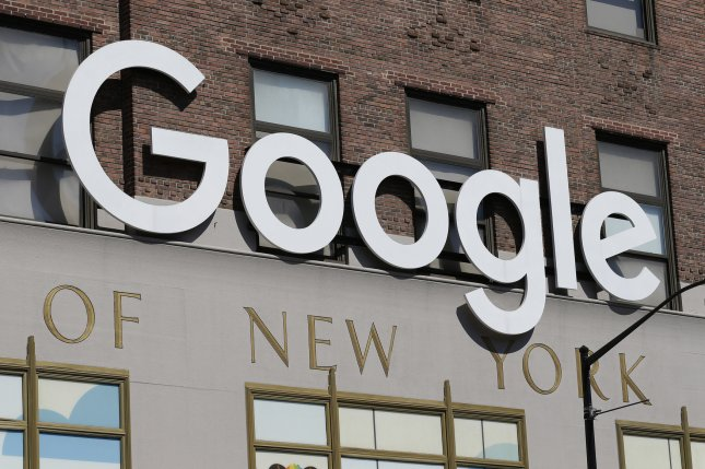The Google logo is seen outside of a company facility in New York City. File Photo by John Angelillo/UPI