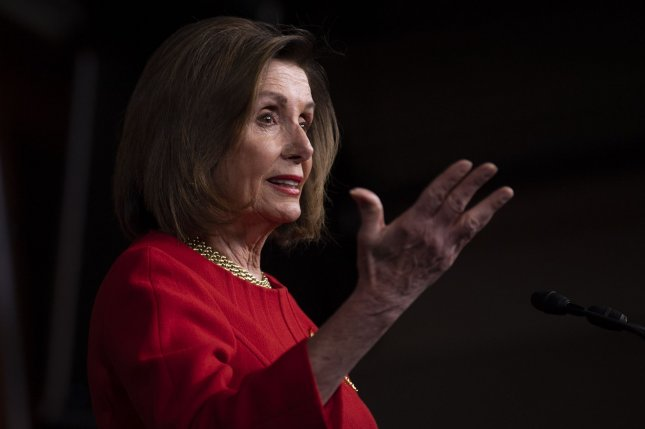 Speaker of the House Nancy Pelosi called for Senate Republican Leader Mitch McConnell to immediately release the guidelines of the Senate's impeachment trial of President Donald Trump. Photo by Kevin Dietsch/UPI