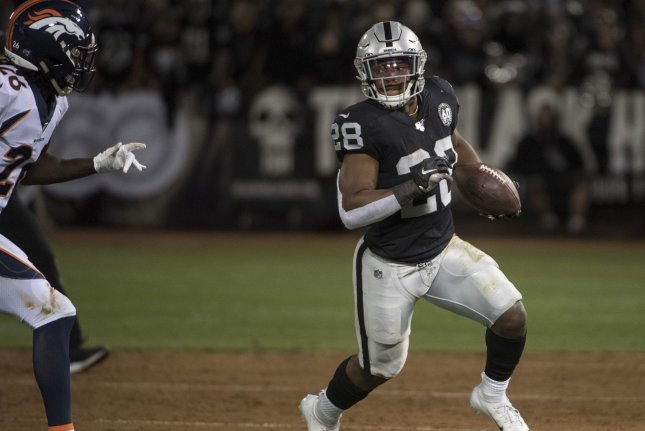Oakland Raiders rookie running back Josh Jacobs rushed for 1,150 yards and seven touchdowns this season. File Photo by Terry Schmitt/UPI