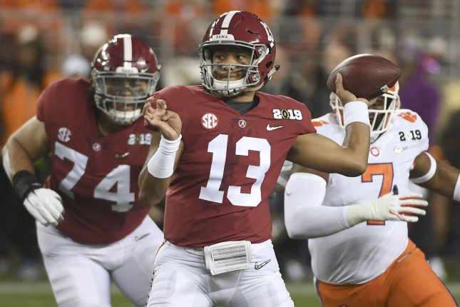Former Alabama Crimson Tide quarterback Tua Tagovailoa suffered a season-ending hip injury in November. File Photo by Terry Schmitt/UPI