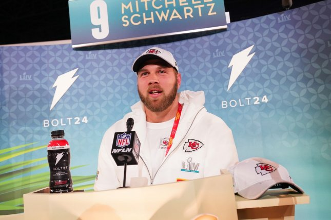 Kansas City Chiefs offensive tackle Mitchell Schwartz (pictured) on Wednesday was the first Jewish NFL player to speak out about DeSean Jackson's anti-Semitic social media posts. File Photo by Kevin Dietsch/UPI