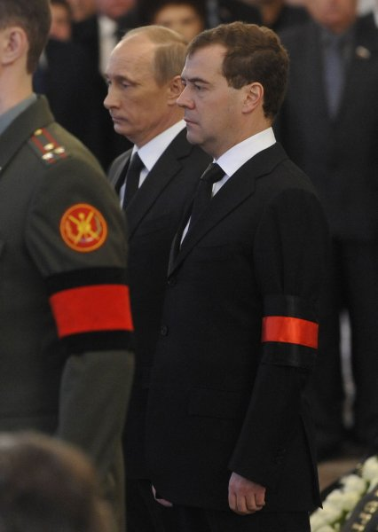 Russian President Dmitry Medvedev (R) and Prime Minister Vladimir Putin (L) attend a funeral ceremony for former Prime Minister Viktor Chernomyrdin in Moscow Nov. 5, 2010. UPI Photo/Stringer