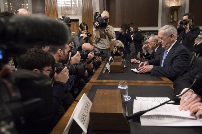 Retired Gen. James Mattis, nominated to be secretary of defense, takes his seat before his confirmation hearing before the Senate Armed Services Committee on Thursday. The Senate and House Armed Services Committee each approved a waiver for Mattis to become the next Pentagon chief. Photo by Kevin Dietsch/UPI
