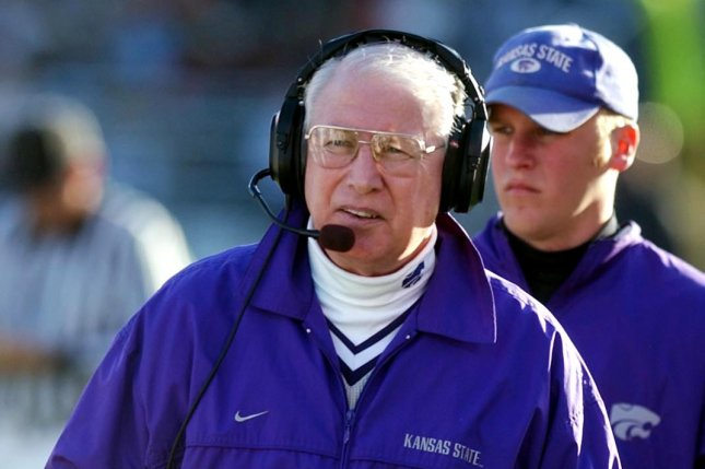 Kansas State University head football coach Bill Snyder paces the sideline during the second quarter against the Missouri Tigers on November 23, 2002 at Faurot Field in Columbia, Missouri. File photo by Bill Greenblatt/UPI