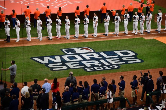 The Houston Astros fired assistant general manager Brandon Taubman as they trail the Washington Nationals 2-0 in the World Series. File Photo by Kevin Dietsch/UPI