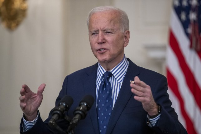President Joe Biden seen during a speech in the State Dining Room of the White House in Washington, D.C., on Saturday. Photo by Shawn Thew/UPI