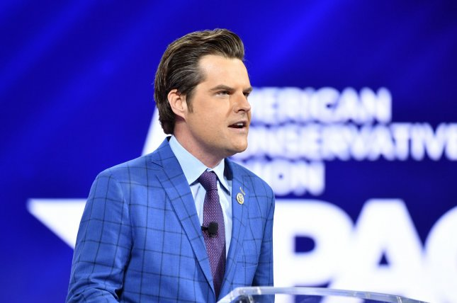 Rep. Matt Gaetz, (R-FL), addresses attendees at the Conservative Political Action Conference 2021 hosted by the American Conservative Union at the Hyatt Regency Orlando on February 26, 2021. File Photo by Joe Marino/UPI
