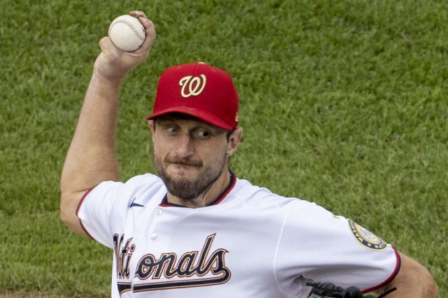 Washington Nationals starting pitcher Max Scherzer will start for the National League against the American League in the 2021 MLB All-Star Game on Tuesday in Denver. File Photo by Tasos Katopodis/UPI