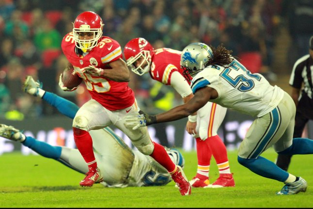 Kansas City Chiefs running back Charcandrick West carries the ball in an International NFL series match against the Detroit Lions at Wembley, London on November 1, 2015. Photo by Sean Dempsey/UPI