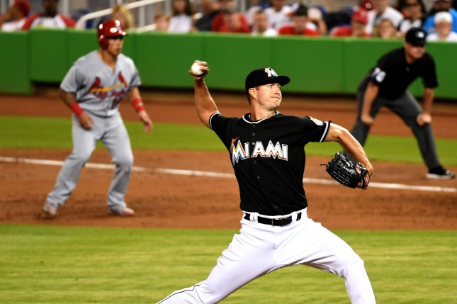 Florida Marlins starting pitcher Colin Rea (30) pitchers against the Cardinals in the second inning at Marlins Park, in Miami, Florida on July 30, 2016. Ichiro is still at 2998 hits after tonight's game. The Marlins defeated the St. Louis Cardinals 11-0. Photo By Gary I Rothstein/UPI