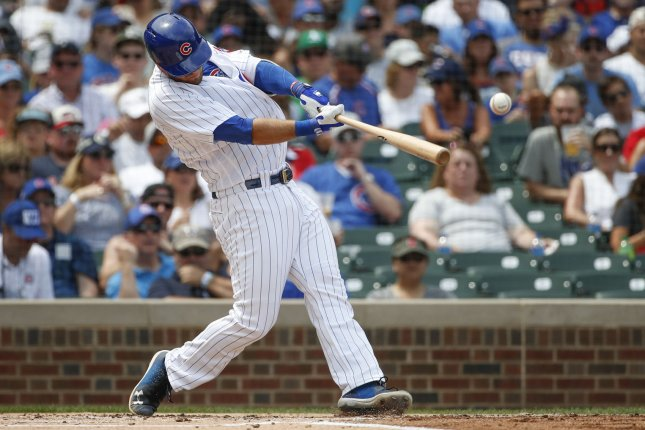 Chicago Cubs third baseman David Bote doubles against the San Diego Padres in the first inning on August 5 at Wrigley Field in Chicago. Photo by Kamil Krzaczynski/UPI