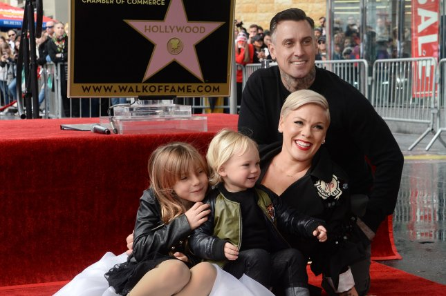 Pink, pictured with Carey Hart, daughter Willow and son Jameson, File Photo by Jim Ruymen/UPI