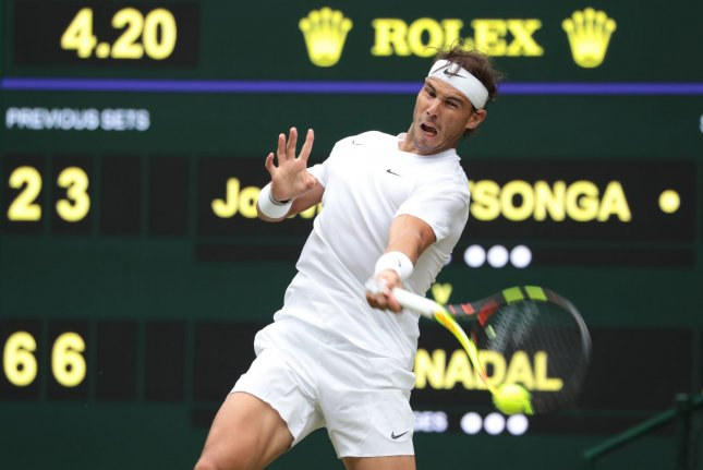 Spain's Rafael Nadal had little trouble with Jo-Wilfried Tsonga in Saturday's third round at Wimbledon. Photo by Hugo Philpott/UPI